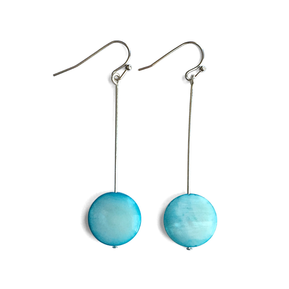 Blue Mother-of-Pearl Disc Dangle Earrings