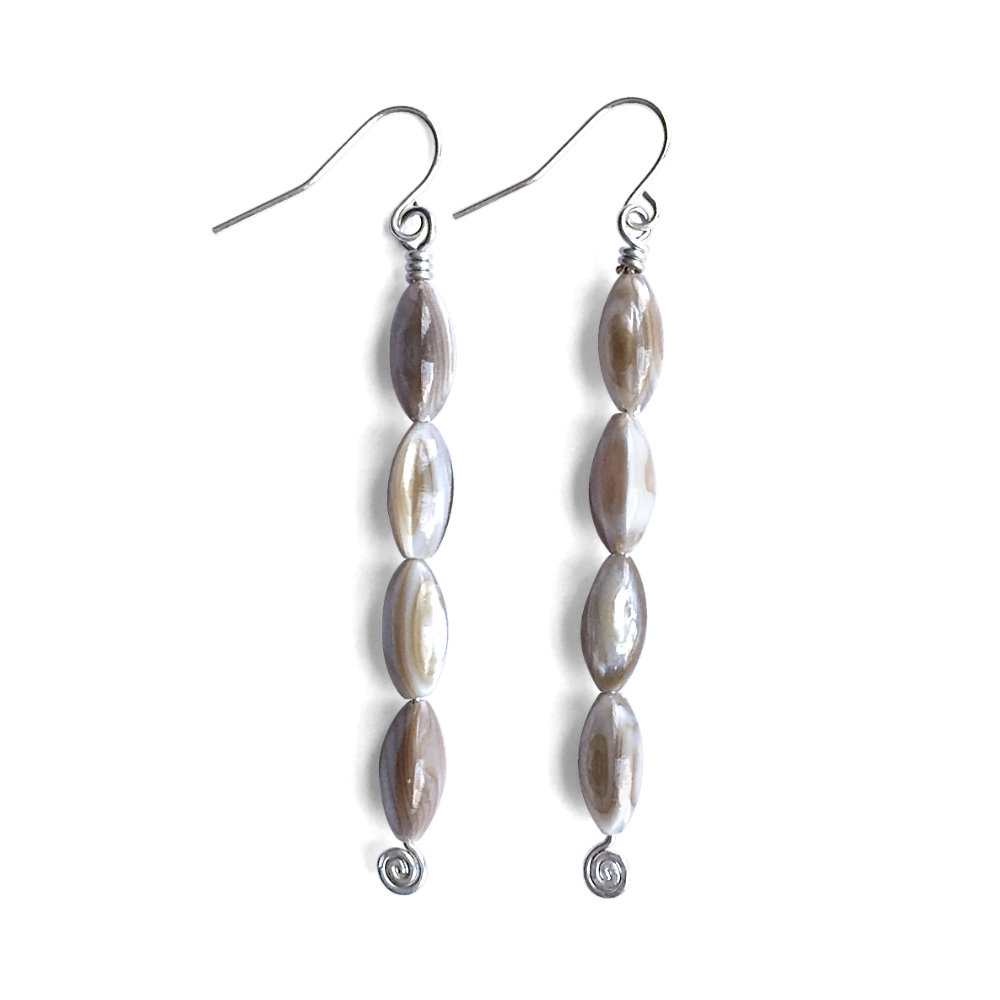 Oval Brown Mother-of-Pearl Earrings