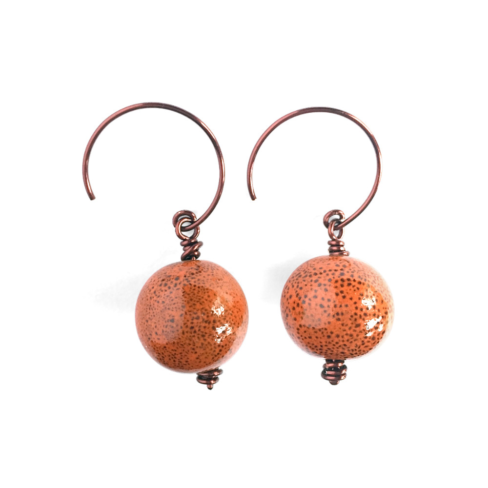 Speckled Orange Earrings with Dark Copper U-Drop Hoop