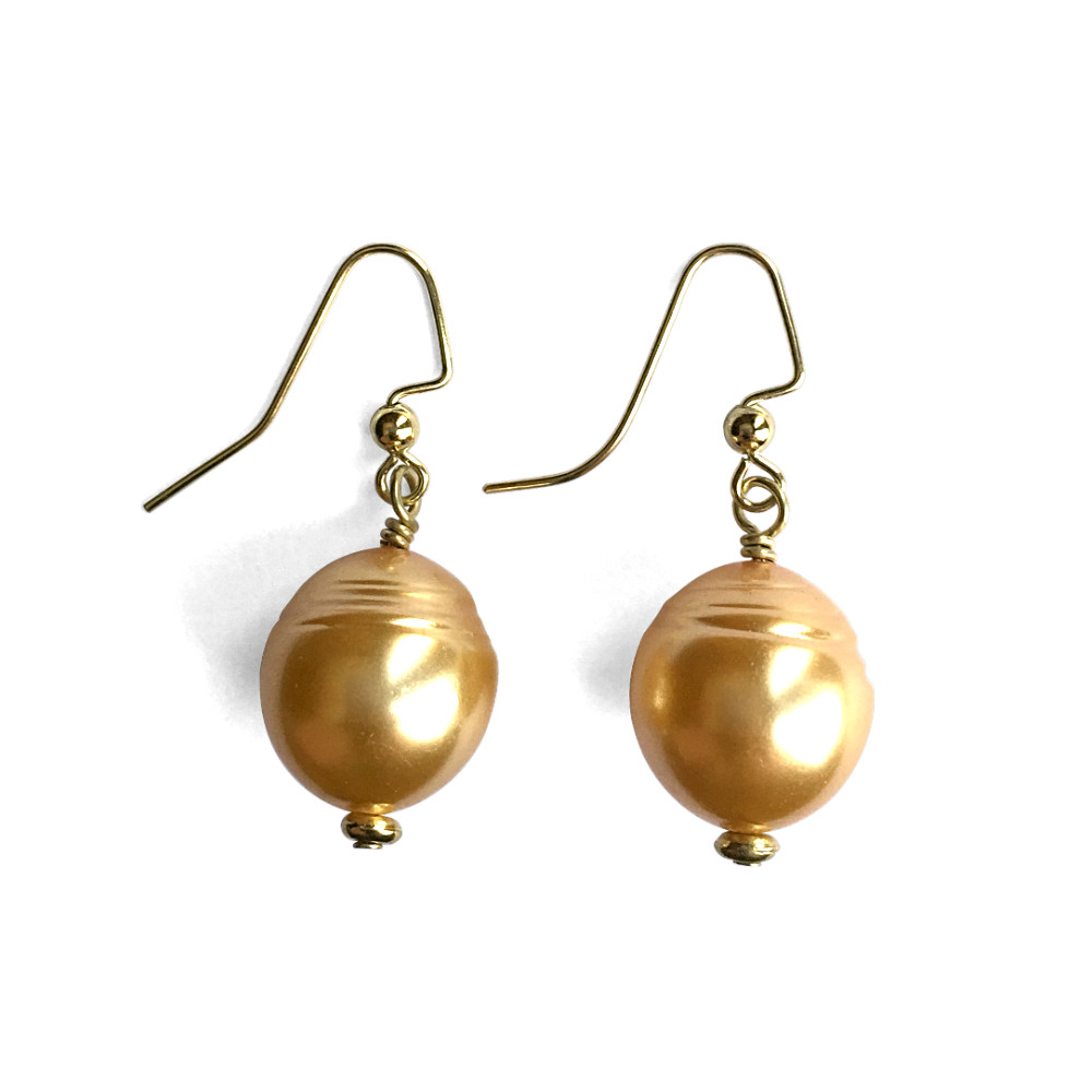 Large Rice Pearl Dangle Earrings