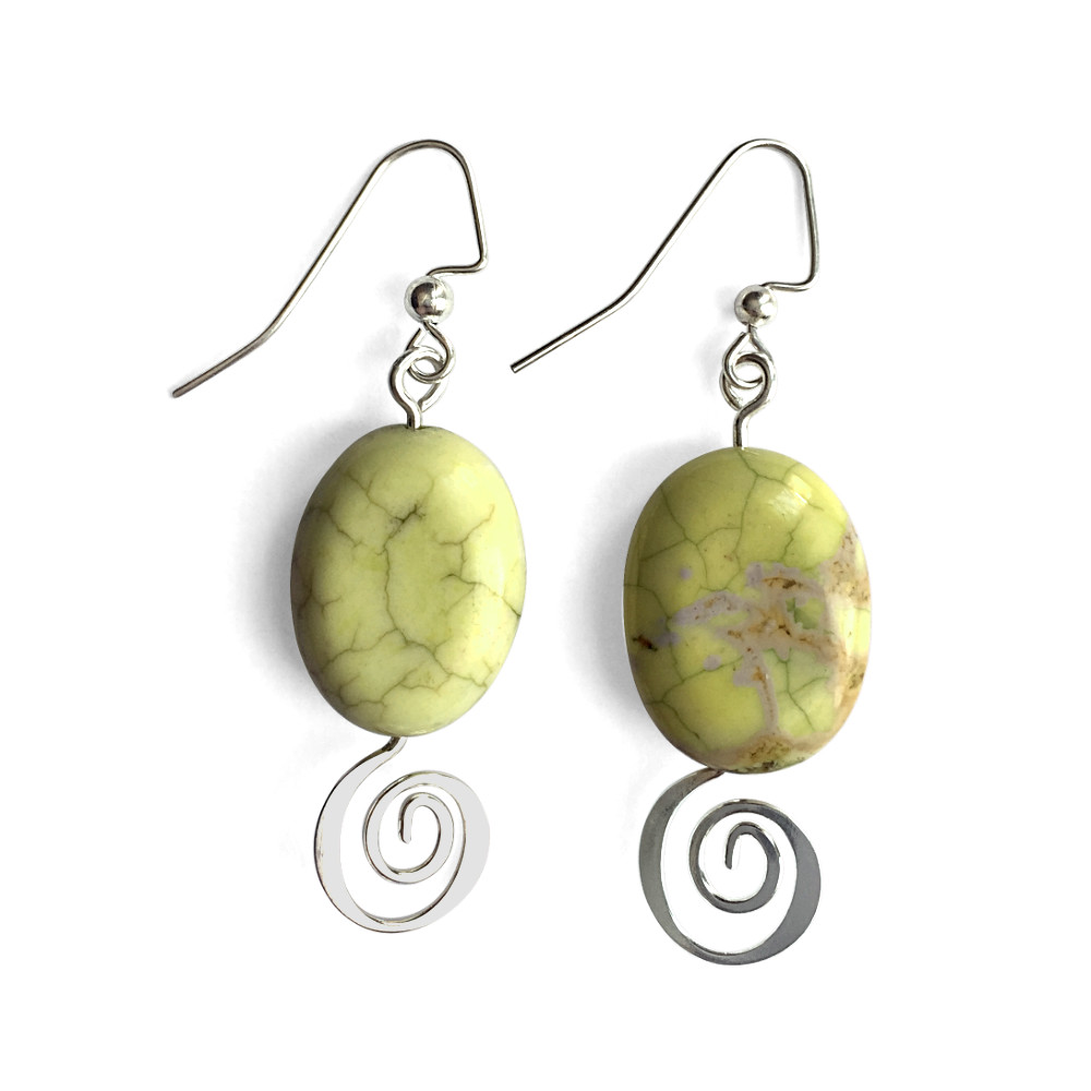 Peridot Jasper Curly-Q Earrings
