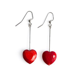 Red Heart Long Drop Earrings