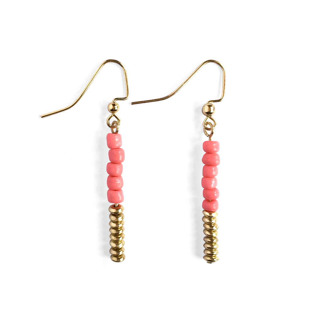 Two-tone Bead Drop Earrings