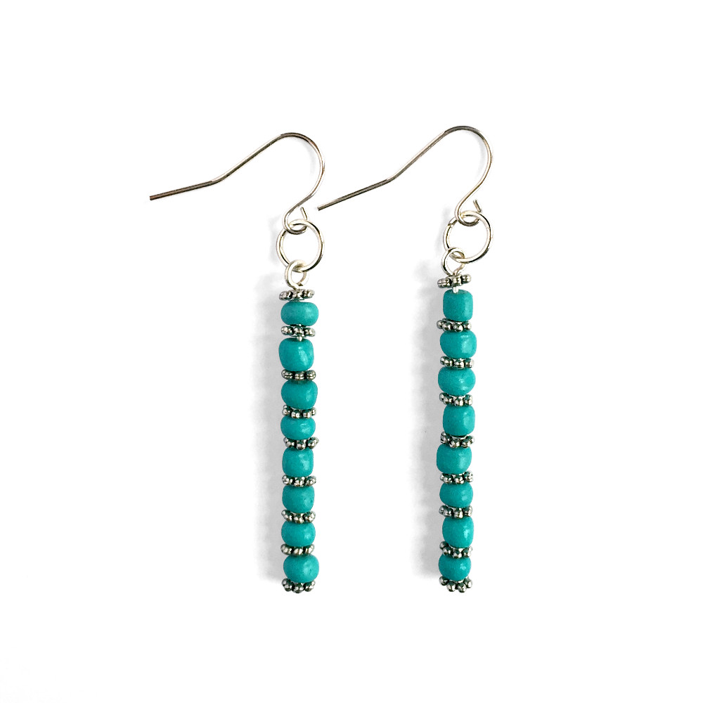 Straight Bead Drop Earrings
