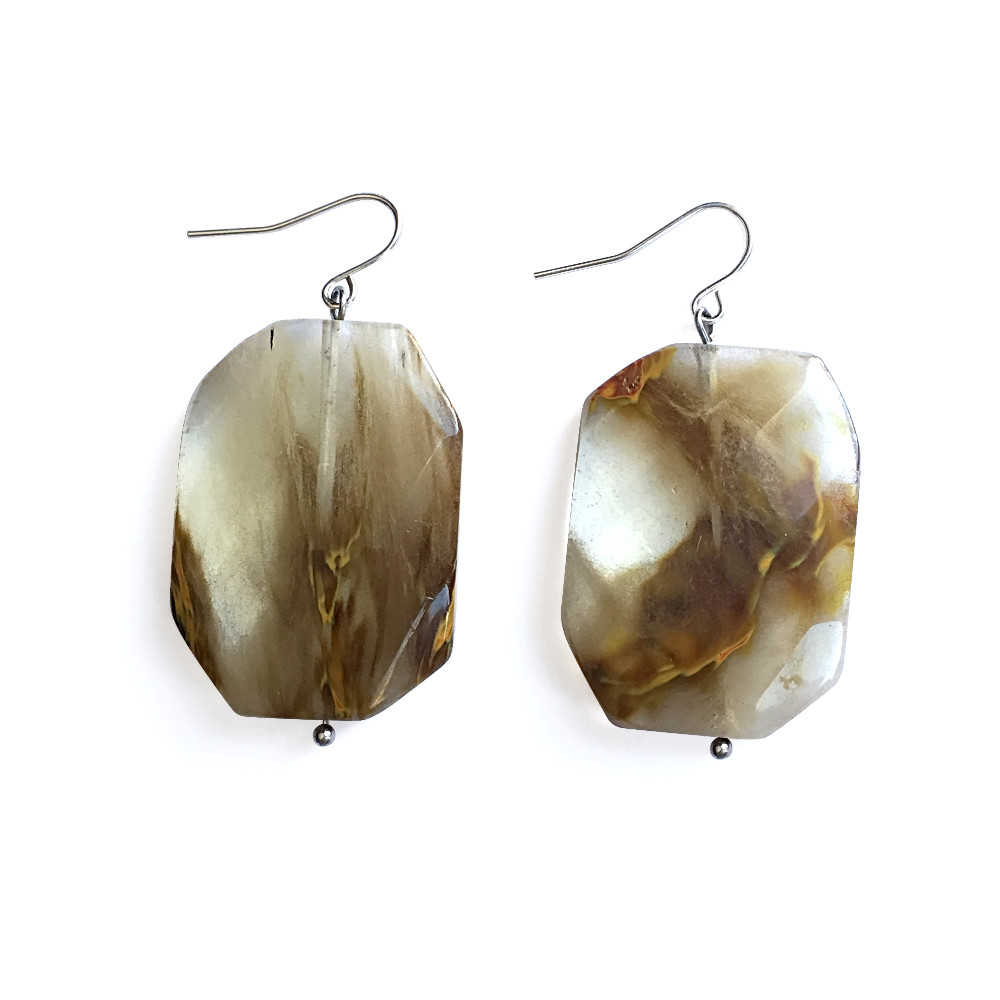 Swirly Smoky Crystal Earrings