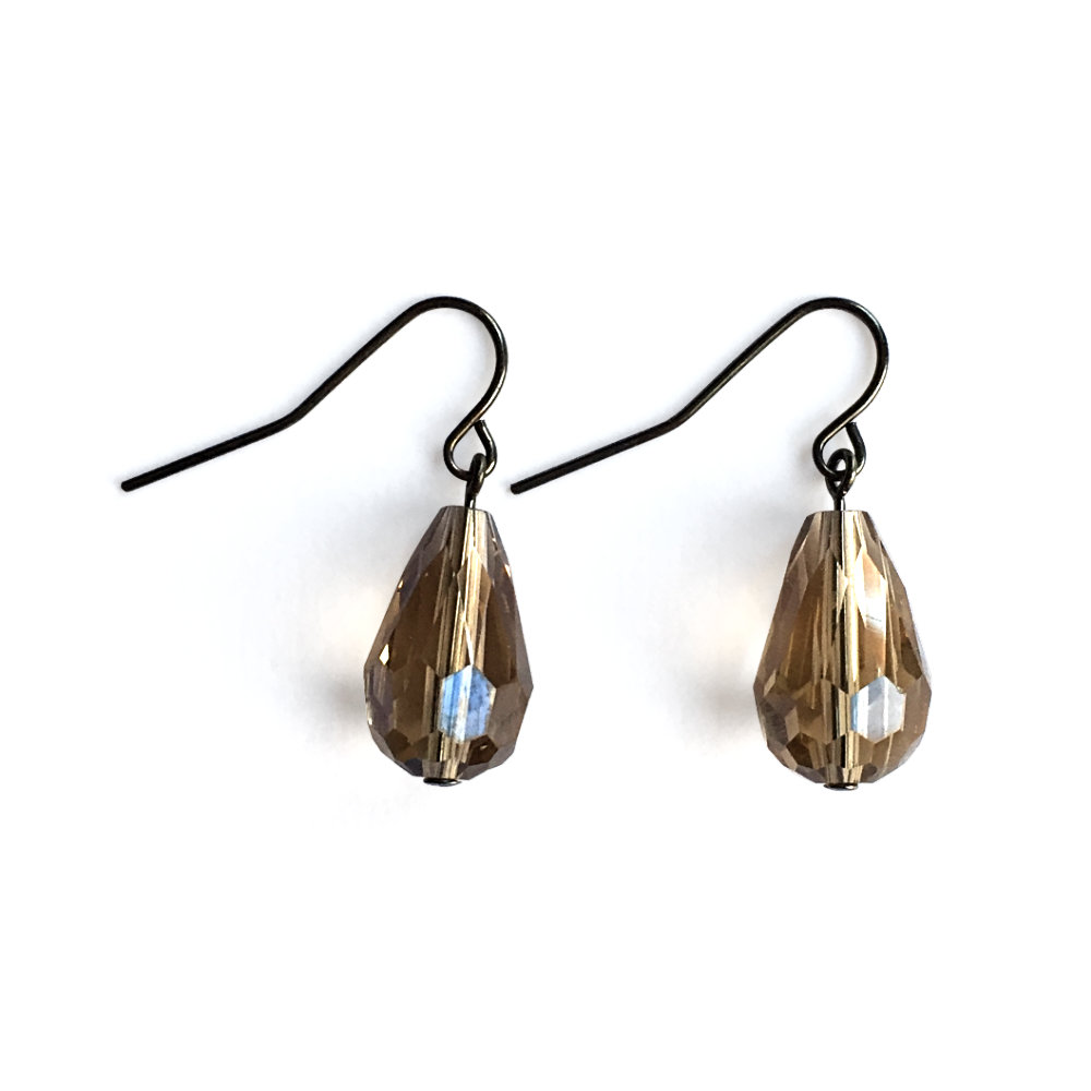 Smoky Faceted Crystal Teardrop Earrings