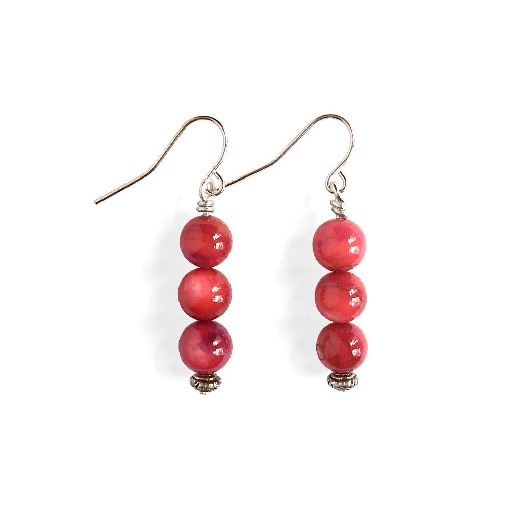 Triple Drop Stone Bead Earrings