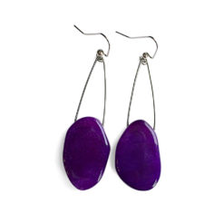 Oval Amethyst Nugget Earrings