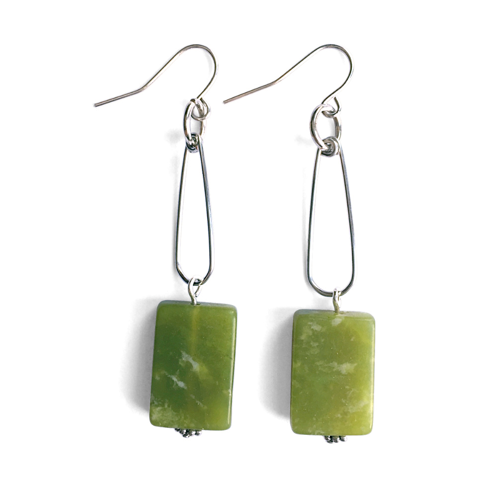 Green Serpentine Dangle Earrings