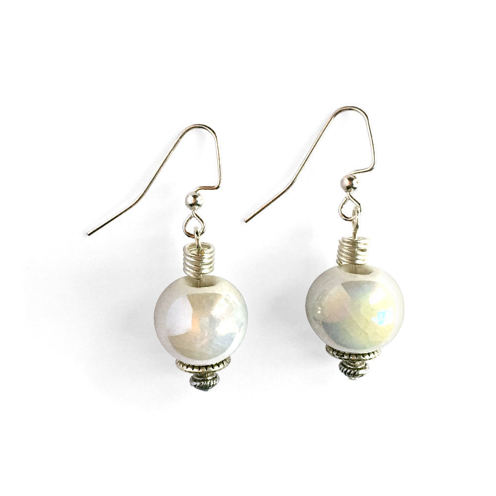 Iridescent Crackled White Ceramic Earrings