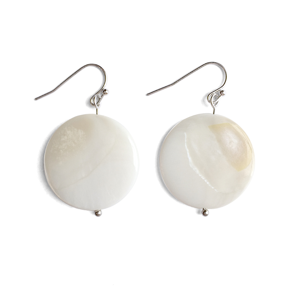 White Disc Mother-of-Pearl Earrings