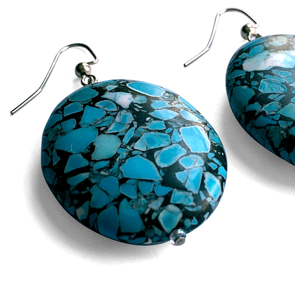 Extra Large Turquoise Oval Earrings