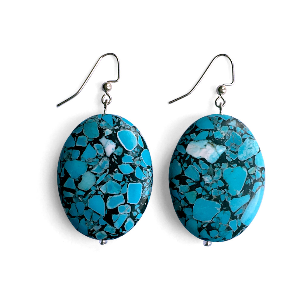 Extra Large Oval Turquoise Earrings