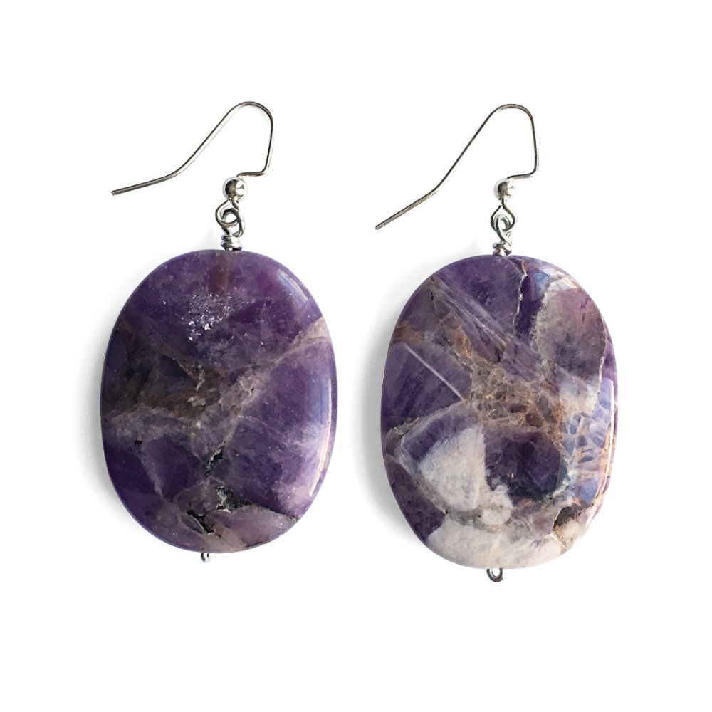 Large Amethyst Oval Earrings
