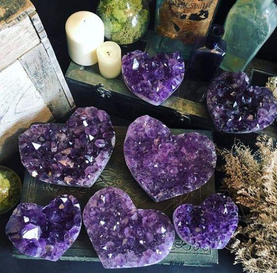 Amethyst Heart Crystals