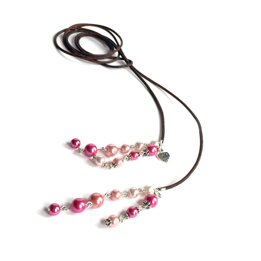 Brown Leather Pink Pearl Lariat Necklace