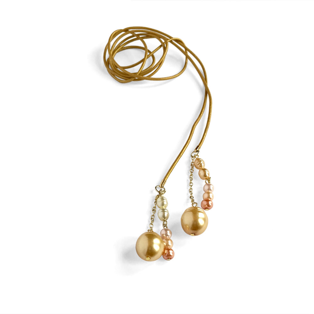 Gold Leather Lariat with Caramel & Pink Pearls