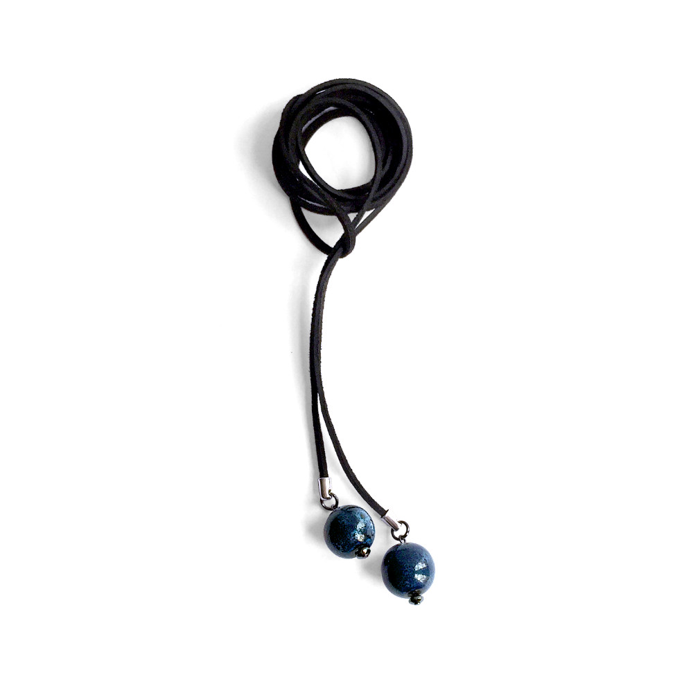 Black Suede Lariat Necklace with Dark Blue Ceramic Beads