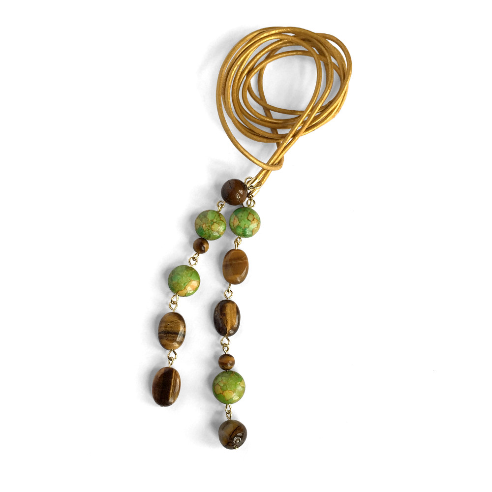 Leather Lariat Necklace with Green & Brown Drops
