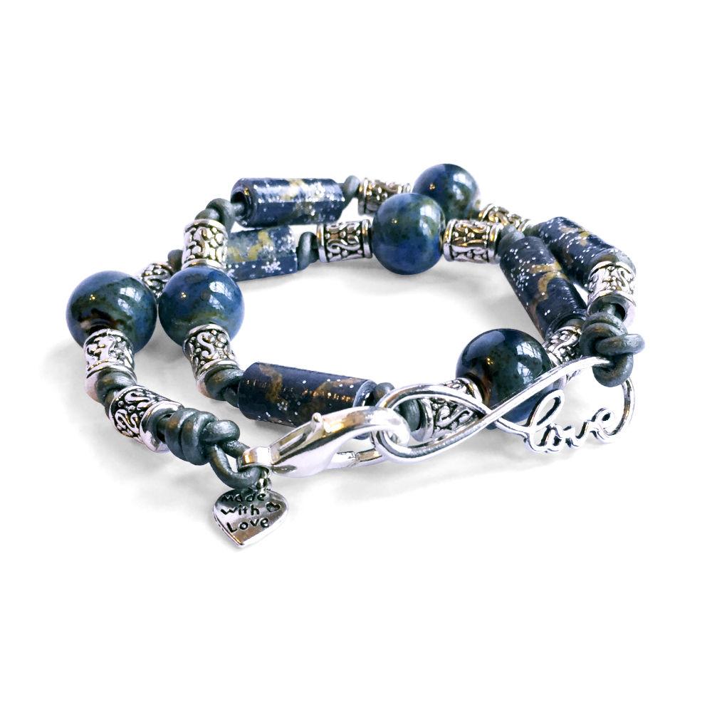 Ceramic & Paper Bead Leather Bracelet