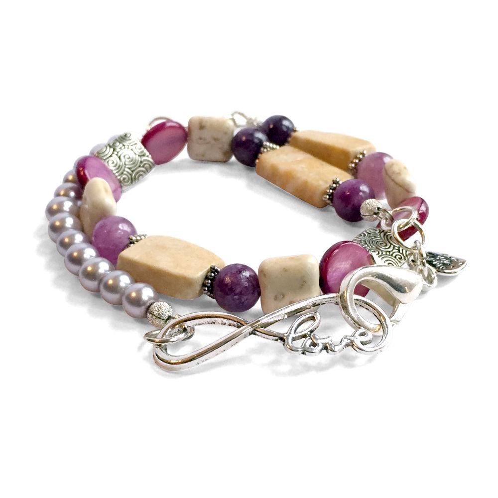 Riverstone & Purple Pearl Infinity Bracelet