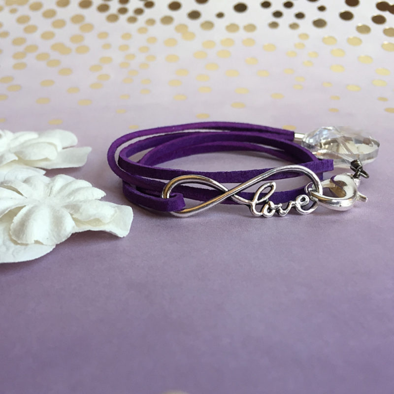 Love Purple Suede Bracelet