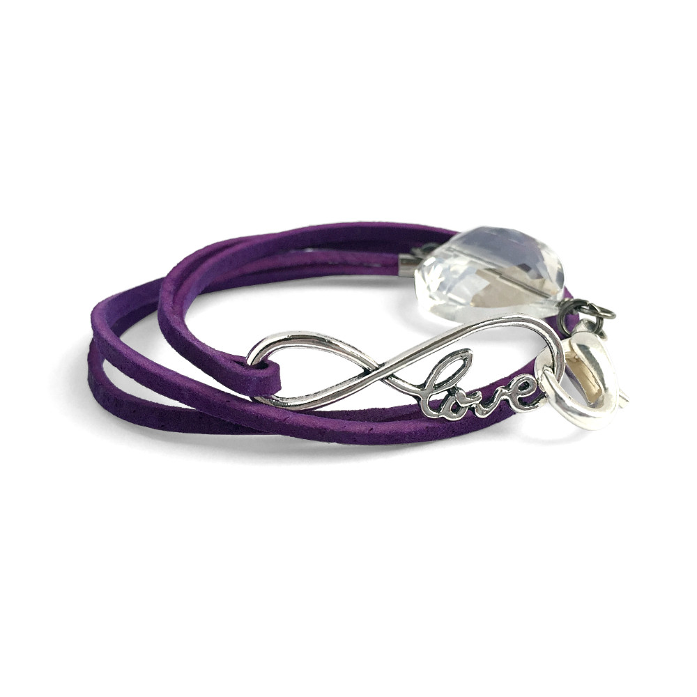 Suede Love Heart Double Wrap Bracelet