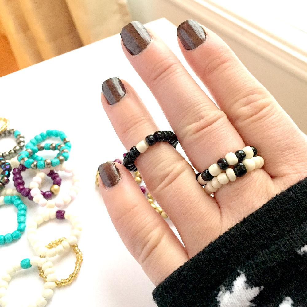Minibead Ring on Hand