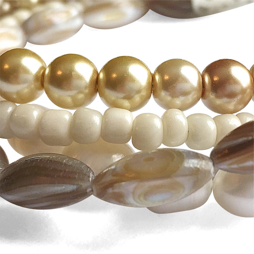 Multi-strand Caramel Pearl Bracelet