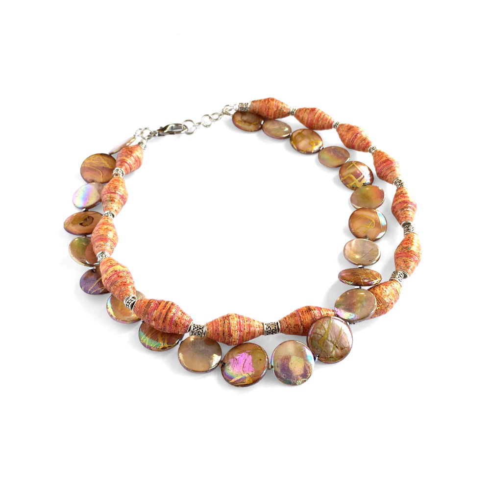 Mother-of-Pearl Necklace with Orange Paper Beads