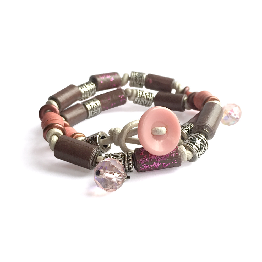 Brown and Pink Paper Double Wrap Leather Bracelet