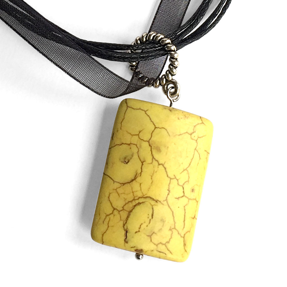Large Rectangle Stone Pendant - Yellow
