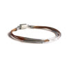 Copper Leather Bracelet with Silver Bars