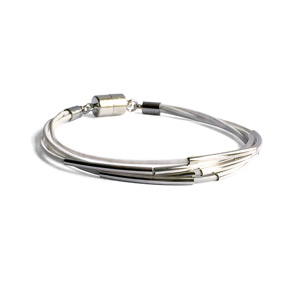 White Leather Bracelet with Silver Bars
