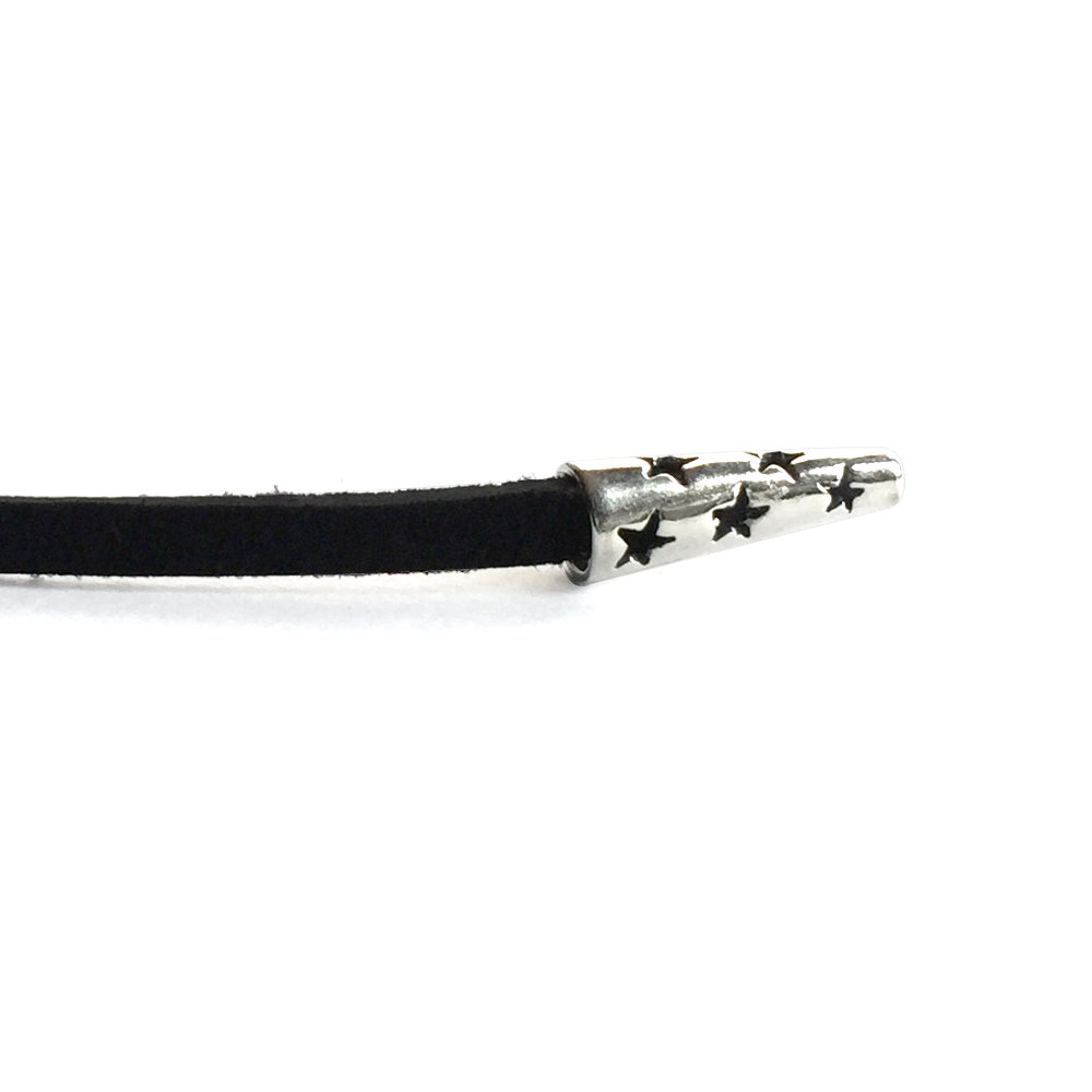 Suede Choker with Silver Star Cone Ends