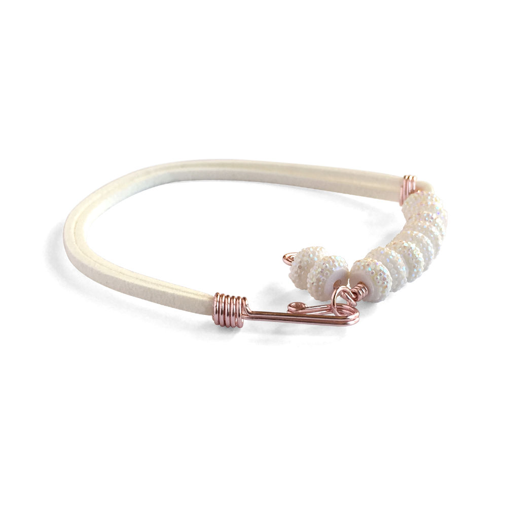 White Suede Bracelet with Glitter Beads